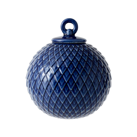 Rhombe Bauble Porcelain Ornament - Midnight Blue