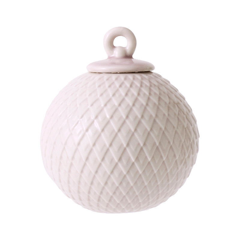 Rhombe Bauble Porcelain Ornament - Soft Pink