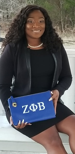 Zeta Phi Beta Royal Blue large Clutch