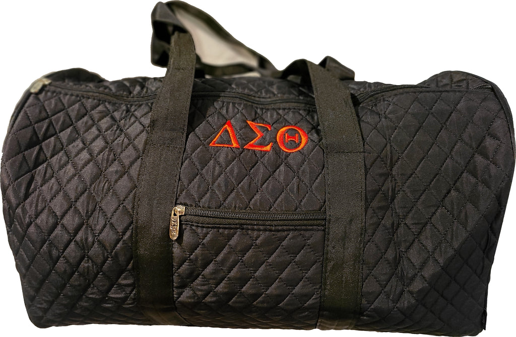 Embroidered Delta Sigma Theta Quilted Duffel Bag with Greek letter and Shield