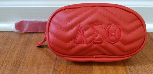 Delta Sigma Theta Leather Chevron Fanny Belt Bag
