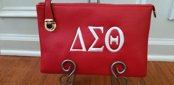 Embroidered Delta Sigma Theta Side Clasp Clutch/Crossbody Bag