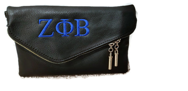 Embroidered Zeta Phi Beta Small Side Envelope Clutch
