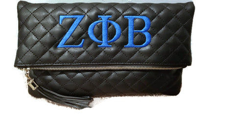 Zeta Phi Beta Black Quilted Clutch and Crossbody