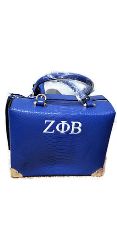 Zeta Phi Beta Crocodile Style Box Handbag