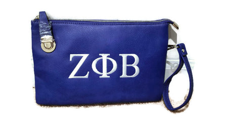 Embroidered Zeta Phi Beta Side Clasp Crossbody/Clutch