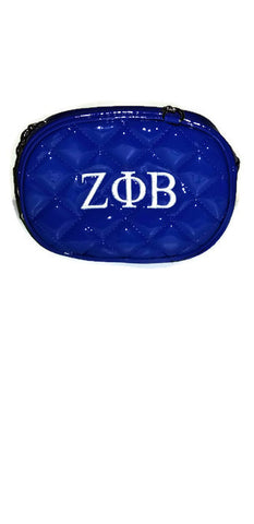Zeta Phi Beta Patent Leather Royal Blue Belt Bag