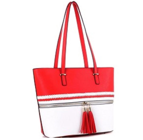 Embroidered Delta Sigma Theta Tassel Accent Braid Detail Color Block Shopper Tote Red/White