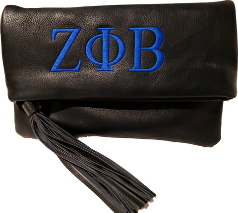Zeta Phi Beta Black Flap Clutch with Tassle