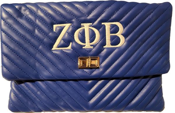 Zeta Phi Beta Chevron Clutch with Turn Lock