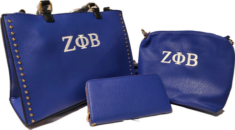 Embroidered Zeta Phi Beta Studded Boxy 3-in-1 Satchel