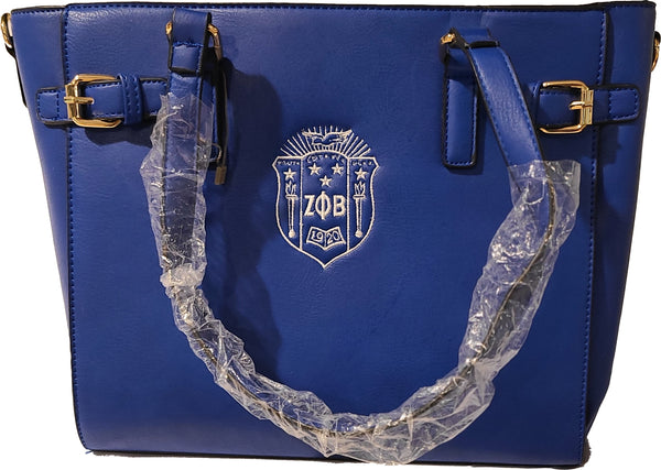 Embroidered Zeta Phi Beta Belted Satchel & Round Top Handle Satchel 2pcs Set