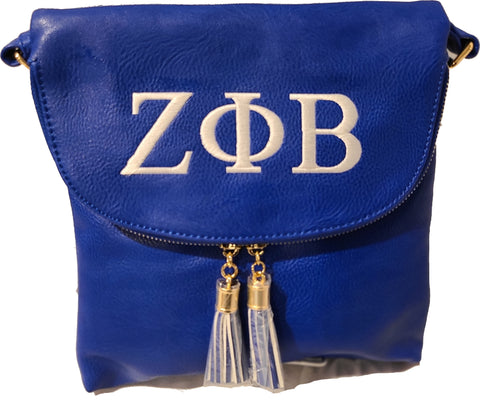 Zeta Phi Beta Multi-Pocket Round Flap Cross Body Royal-Blue