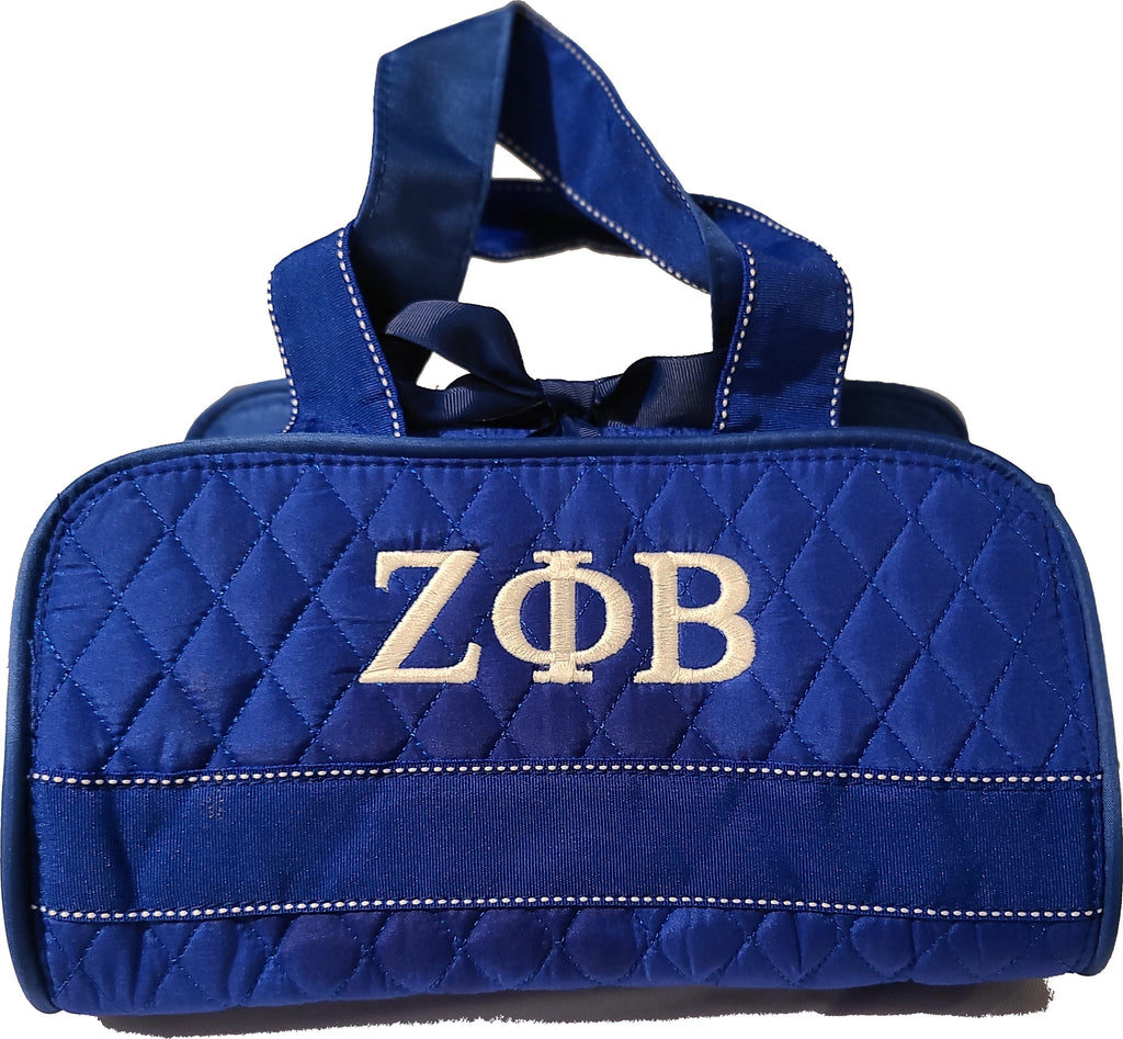 Embroidered Zeta Phi Beta 3 in 1 Quilted Royal Blue Cosmetic Set