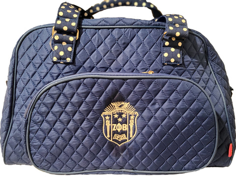 Embroidered Zeta Phi Beta Quilted Weekender Duffel