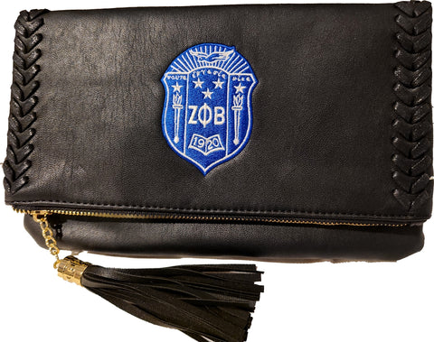 Embroidered Zeta Phi Beta Black Braided Crossbody/Clutch