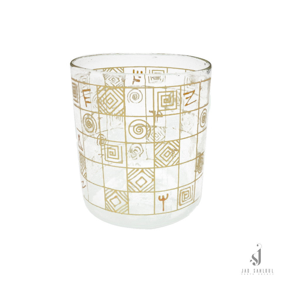 Whisky Cup Golden Phoenician Alphabet 3 pcs