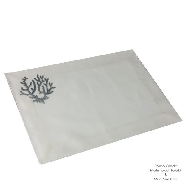 Coral Embroidered Table Mat-Silver