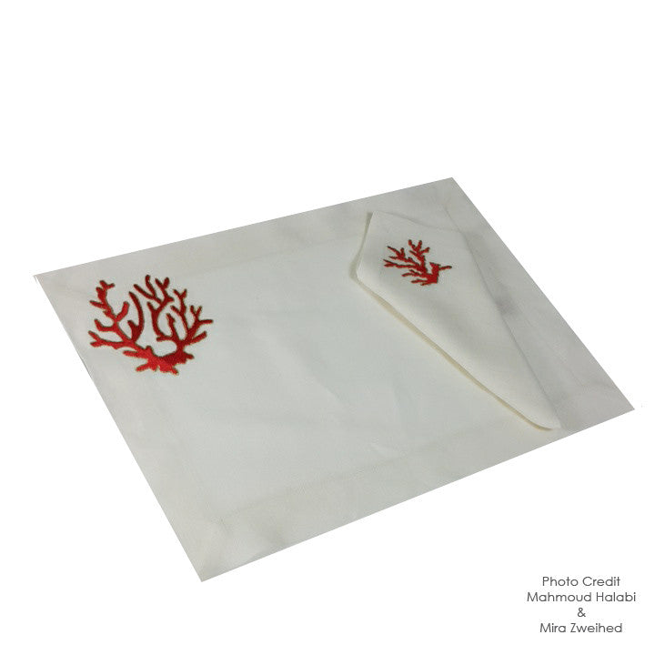 Coral Embroidered Place Mat and Napkin Set-Red