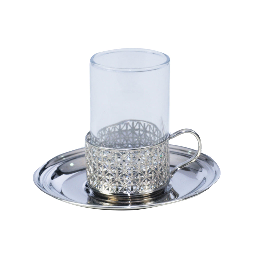 Glass Handle Tea Cup & Brass Base & Plate