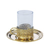 Glass Handle Tea Cup & Copper Base & Plate