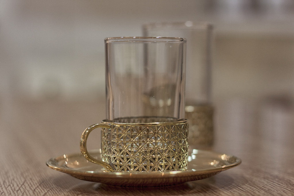 Glass Tea Cup & Copper Base & Plate