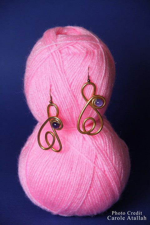 Artsy Copper with Purple Bead Earrings