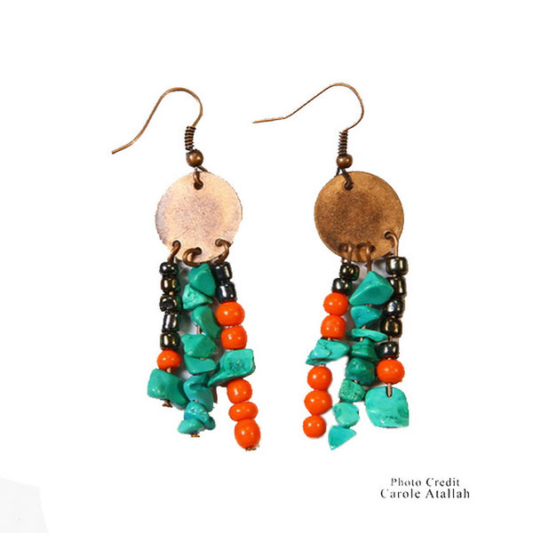 Coral & Turquoise Twinkle Earrings