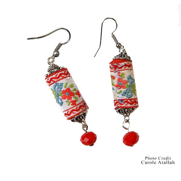 Ethnic Fabric Floral Earrings