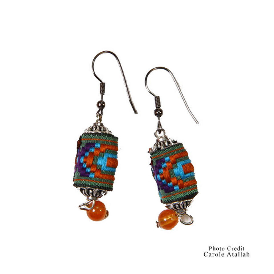 Ethnic Fabric Amber Bead Earrings