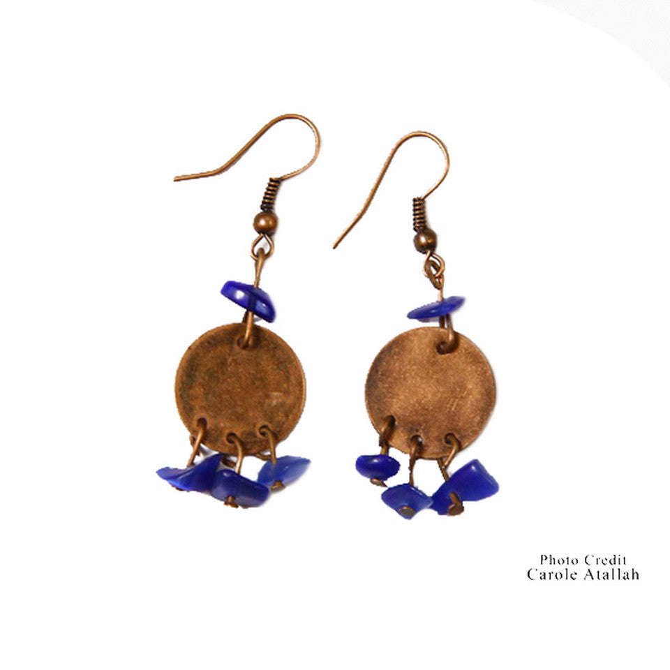 Copper & Blue Bead Earrings