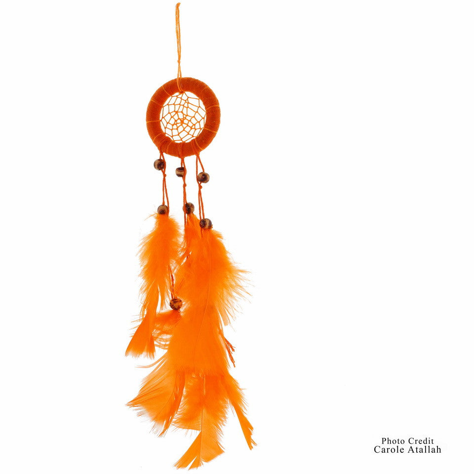Orange Feathered Dream Catcher