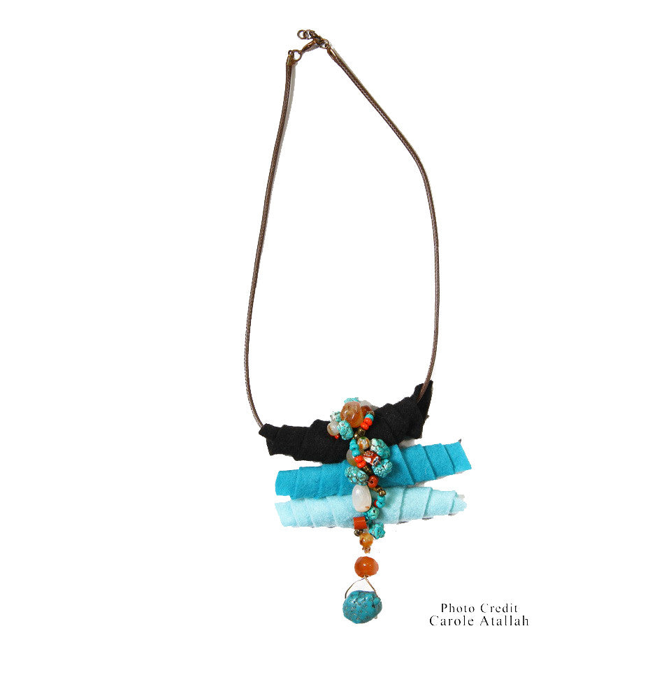 Fabric & Turquoise Stone Necklace