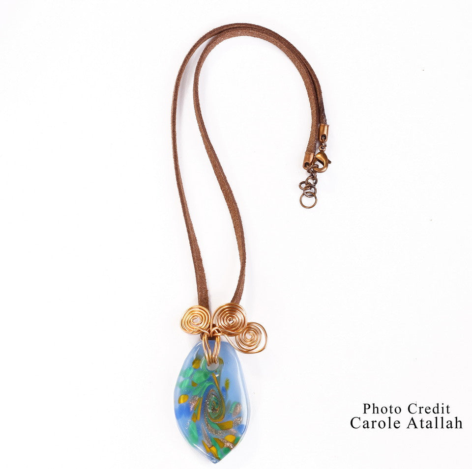 Colored Glass & Copper Necklace