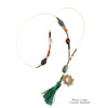 Green Tassel & Stone Necklace