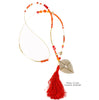 Red Tassel & Stone Necklace