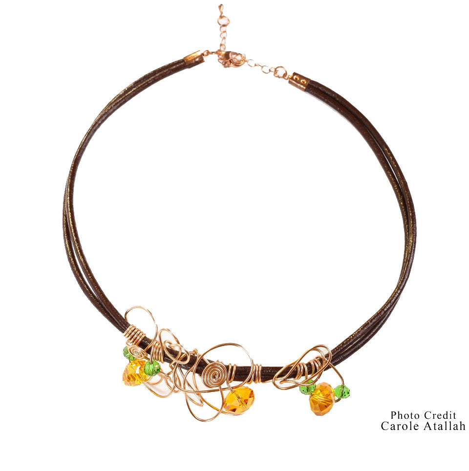 Leather & Copper Wire Necklace