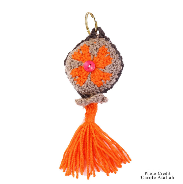 Knitted Tassel Keychain - Orange