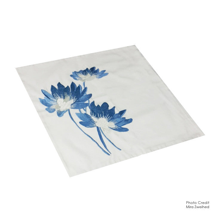 Blue Flowers Pillow Case
