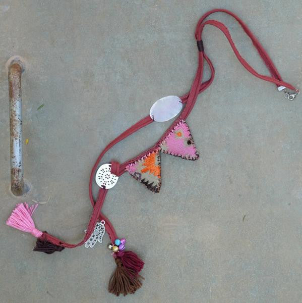 Long Ethnic Fabric Necklace - Earth