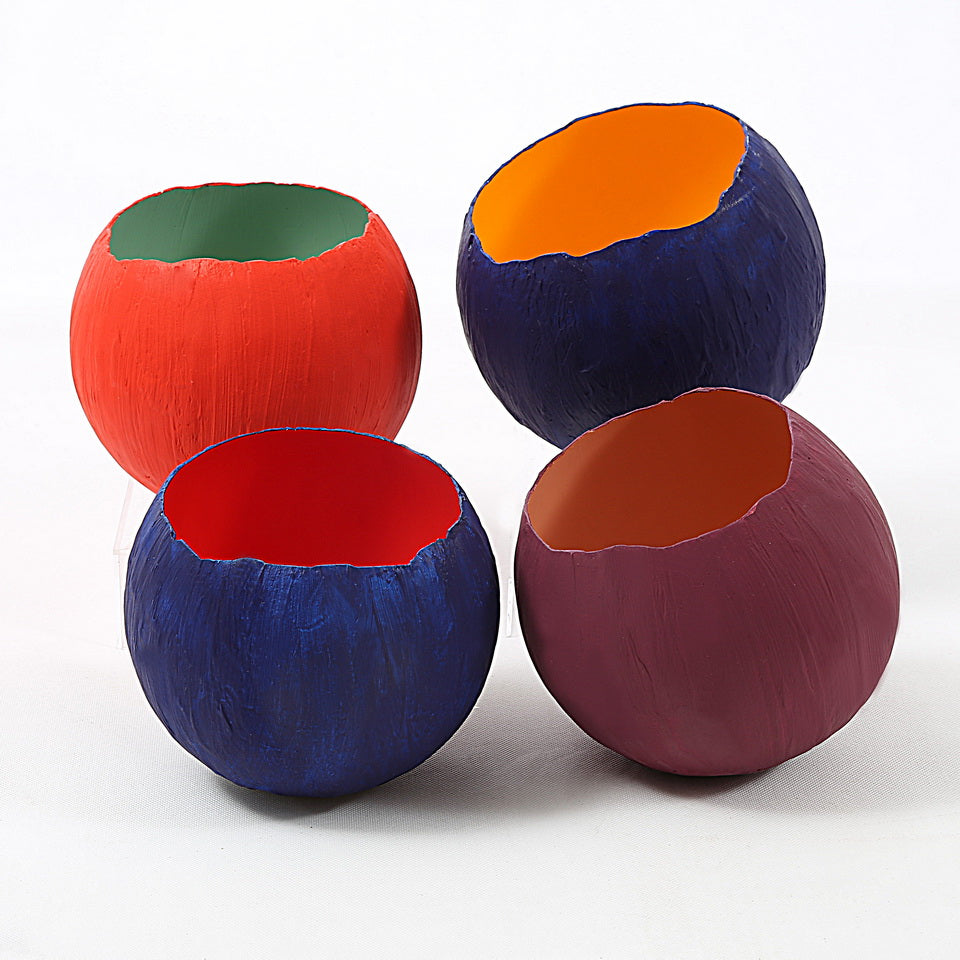 Ceramic Pots (Purple & Orange)