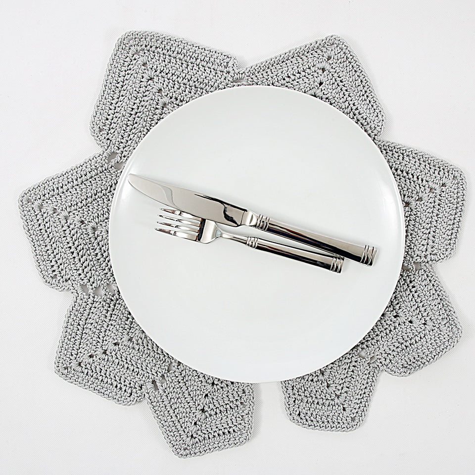 Vine Leaf Crochet Grey Placemats