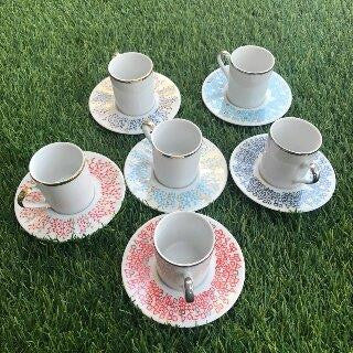 Coffee cups/ decorated plate 6 pcs