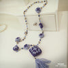 Blue Knitted Necklace