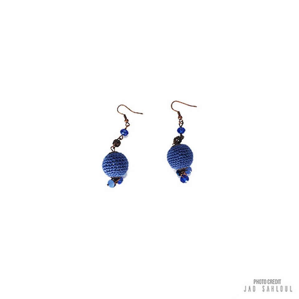 Blue Ball Knitted Earrings