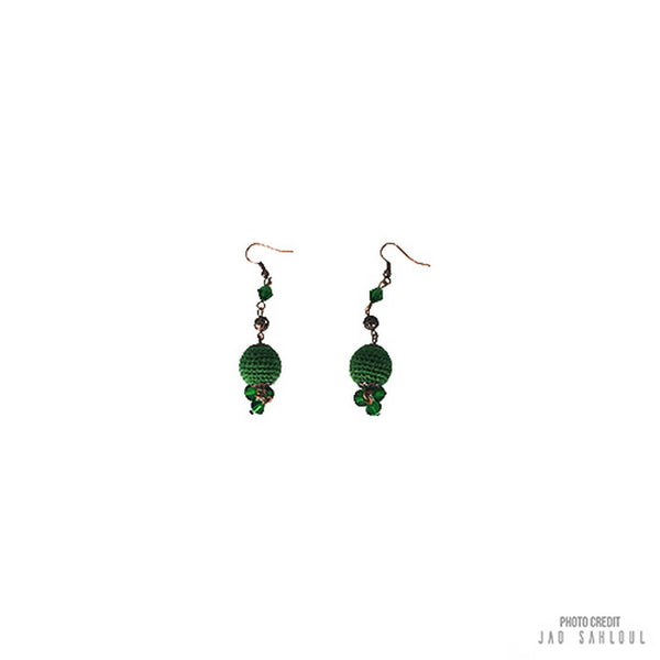 Green Ball Knitted Earrings