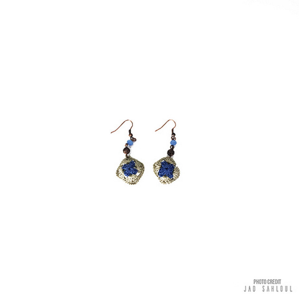 Blue Beige Knitted Earrings