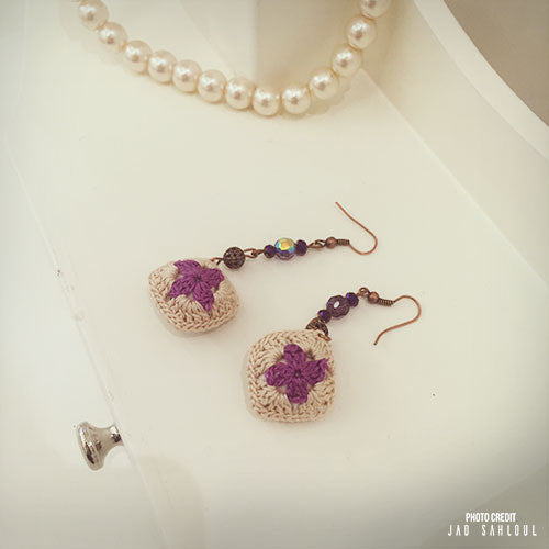Purple Beige Knitted Earrings