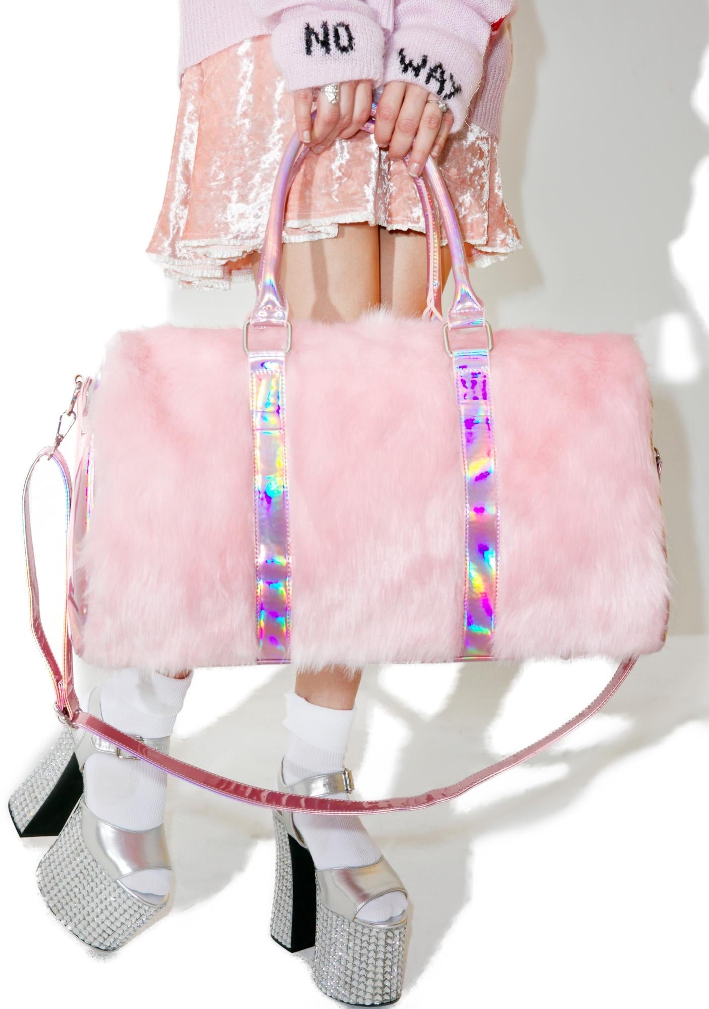 FUZZY PINK DUFFLE