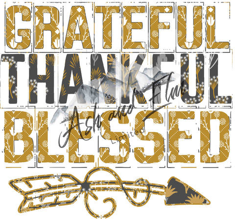 Grateful, Thankful, Blessed Floral Panel